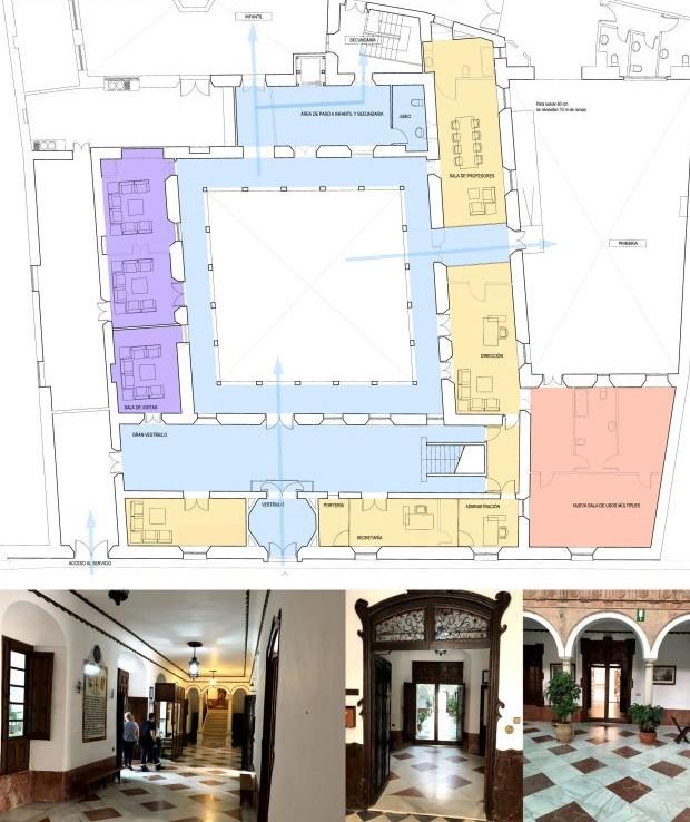 Planos de la remodelación del patio central